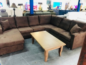 JEREMY BROWN CNR LOUNGE SUITE WITH CHAISE (CHAISE CAN BE MOVED TO OPPOSITE SIDE)#(A935)