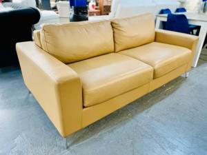 CRAWFORD FULLLEATHER 2.5 SEATER SOFA BED - VILLA HONEY (RRP$2530)