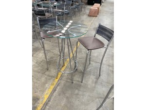 GLASS TOP BAR TABLE SET WITH 2 X BAR CHAIRS/STOOLS & TABLE