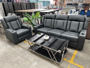 TRINITY DARK GREY FULL LEATHER ELECTRIC RECLINING LOUNGE SUITE WITH CONSOLE & CUP HOLDERS