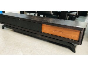 BLACK/TIMBER TV STAND WITH DRAWERS
