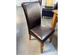FORBES TIMBER DINING CHAIRS SET OF 6 BRAND NEW CHOC PU UPHOLSTERY