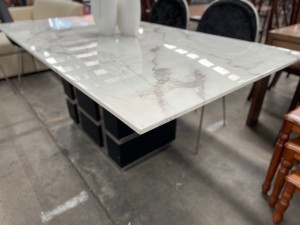 2.4M MARBLE TOP DINING TABLE WITH BLACK & CHROME BASE (BASE FACTORY SECOND/TOP NEW) SOLD AS IS