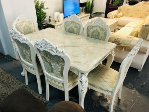 ORNATE SEVEN (7) PIECE MARBLE TOP DINING SUITE