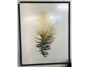 SET OF 2 GOLD FEATHER ARTWORK