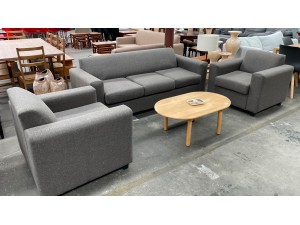 CHARCOAL GREY FABRIC LOUNGE / SOFA SUITE 3+1+1 SEATERS