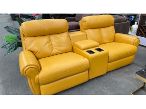 ASHER LEATHER 2.5 SEATER ELECTRIC BACK RECLINING LOUNGE WITH SMART HOME THEATRE CONSOLE - PREMIUM MUSTARD (RRP$3900)  (factory 2nd)