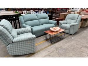 GRIFFIN FABRIC LOUNGE SUITE 2 X 1 SEATER ELECTRIC RECLINERS + 1 X 2.5 SEATER - SEAFOAM (RRP$4445)
