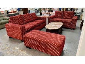 MAROON FABRIC LOUNGE SUITE - 3 + 2 SEATER & OTTOMAN