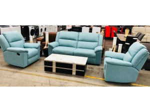 GRIFFIN FABRIC LOUNGESUITE WINSLOW TEAL - 2.5 SEATER WITH END RECLINERS PLUS 2 SINGLE RECLINERS (RRP$3300) 004/005-14-01-21