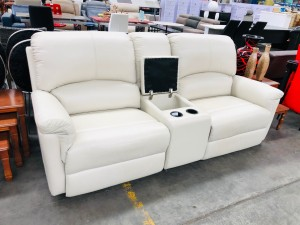 DOVE LEATHER ELECTRIC RECLINING HOME THEATRE LOUNGESUITE - VILLA PEARL (RRP$3850) #011/013-14-01-21 - SECONDHAND