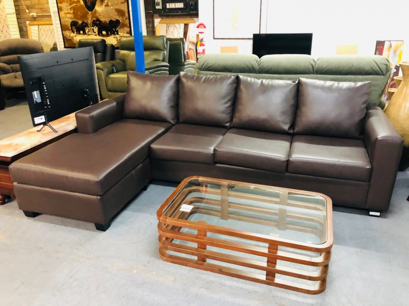 4 SEATER BONDED LEATHER COUGHES WITH END CHAISE INTERCHANGEABLE - FACTORY SECOND SOLD AS IS
