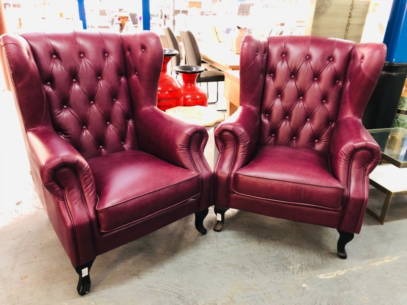 BAILEY LEATHER WING CHAIR - SCOTLAND BURGUNDY (RRP$1500) SOLD INDIVIDUALLY