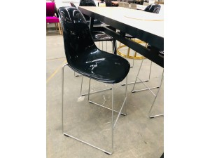 BLACK HIGH GLOSS BAR STOOLS X 6