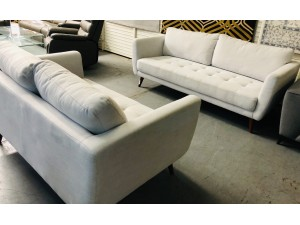 ELYSSE 2 X 3 SEATER IN LIGHT GREY SOLD AS IS