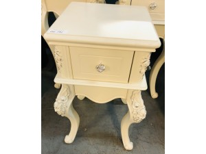 SMALL WHITE ORNATE 1 DRAWER SIDE TABLE