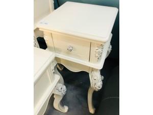 MEDIUM WHITE ORNATE 1 DRAWER SIDE TABLE