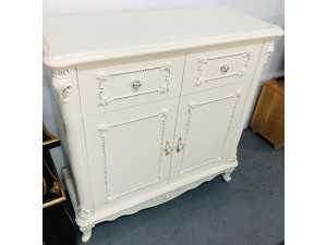 ORNATE WHITE 2 DOOR 2 DRAWER HALLWAY CABINET