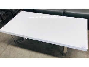 LARGE WHITE COFFEE TABLE WITH CHROME LEGS