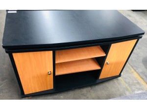 BLACK TV STAND WITH SWIVEL TOP
