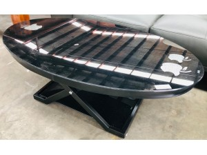 LARGE BLACK GLASS OVAL COFFEE TABLE