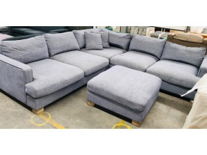 AVOCA GREY FABRIC CNR MODULAR LOUNGE SUITE WITH OTTOMAN