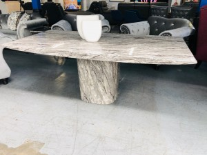 SANTORINI 2M STONE COLOUR MARBLE DINING TABLE (DT-149)
