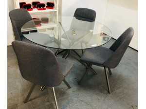 STELLA ROUND GLASS TOP 5 PIECE DINING SUITE WITH GREY FABRIC CHAIRS