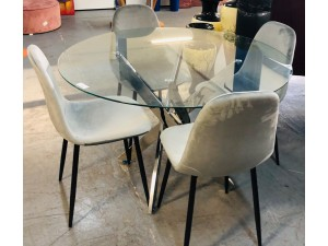 NITA ROUND GLASS TOP 5 PIECE DINING SUITE WITH GREY VELVET CHAIRS