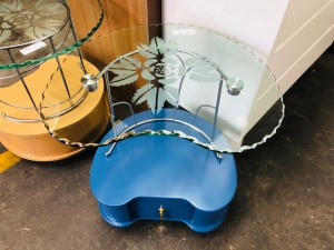GLASS TOP SIDE TABLE WITH BLUE BASE