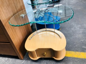 GLASS TOP SIDE TABLE WITH BEECH BASE