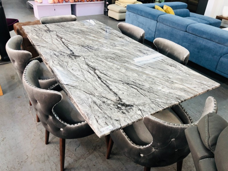 SANTORINI 2M GREY MARBLE DINING TABLE