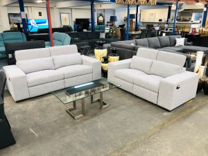 CALGARY GREY LOUNGESUITE 3 + 2 SEATER RECLINING WITH ADJUSTABLE HEADRESTS (ED487-410-610.010)