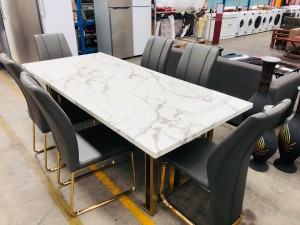 DIOR 2.2M MARBLE DINING TABLE WITH GOLD FRAME - SOME DAMAGE TO TOP