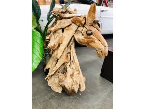 NATURAL COLOUR TIMBER DRIFTWOOD FULL HORSE HEAD 85X45X110CM