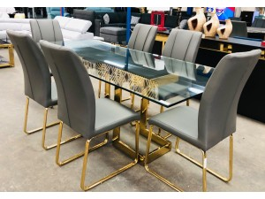 MILAN 2.2M GLASS TOP DINING TABLE WITH GOLD BASE