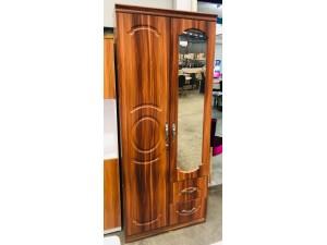 TWO DOOR WALNUT WARDROBE (ONE DOOR WITH MIRROR) & TWO DRAWERS (SOLD AS IS)