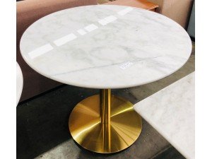 ROUND (90CM DIAMETER) WHITE MARBLE TOP TABLE INDOOR GOLD BASE