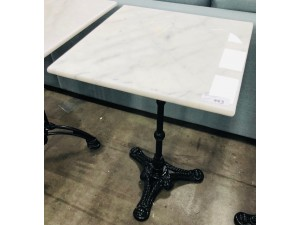 SQUARE WHITE MARBLE TOP TABLE 50 X 50CM (SUITS INDOOR OR OUTDOOR)
